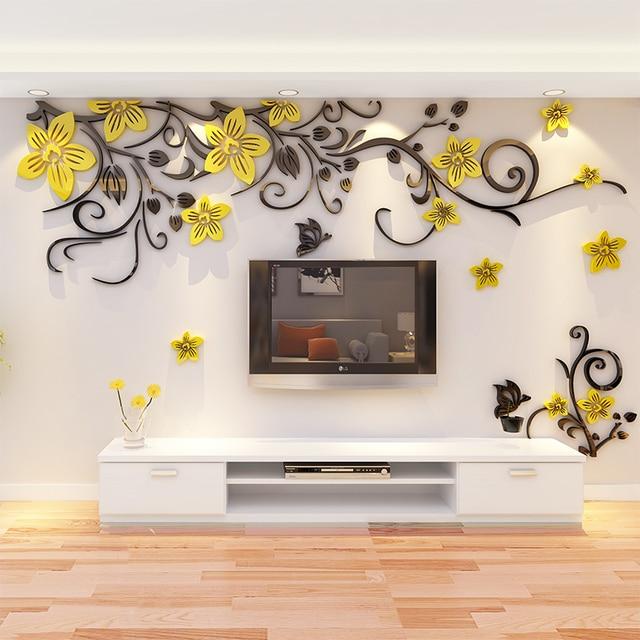 3D Wall Sticker Romantic Flower Sticker Living Room Wall Decals TV Background Decoration Maison Modern Wall Stickers Art Decals 1