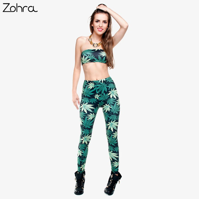 Zohra Women Clothing Ladies Legins Full Length Weeds 3D Graphic Printing Legging Sexy Punk Pants Leggings