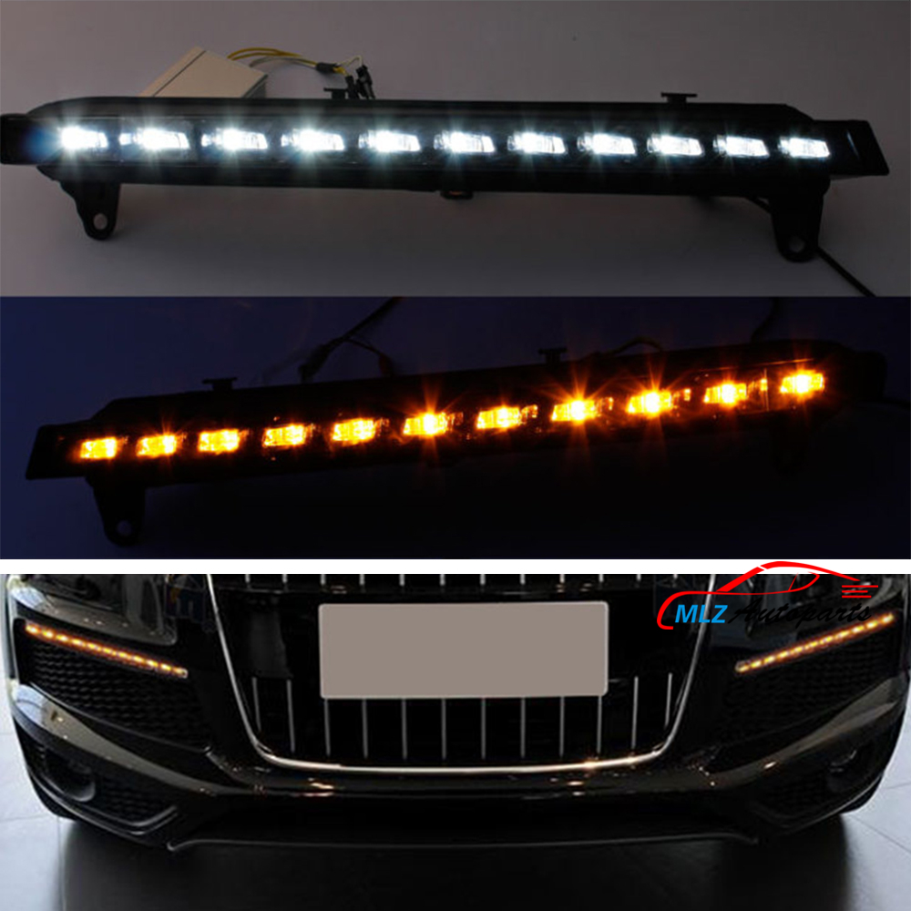 LED Light White Daytime Running Lights Yellow Turn Signal Lamp for Audi Q7 2007 2008 2009 2pcs DRL  With 2pcs Controller new auto car led daytime running lights drl yellow turn signal fog lamp for audi q7 2006 2007 2008 2009
