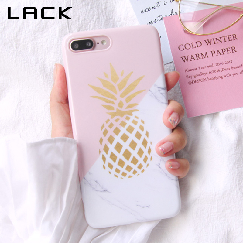 LACK Gold Pineapple Phone Case For Iphone 8 Case Geometric Splice Stone Marble Texture Pattern