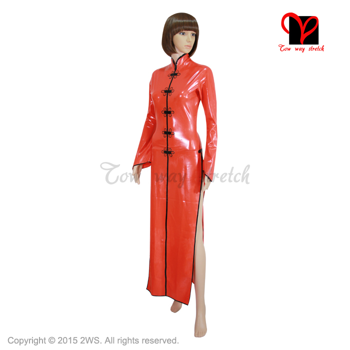 Buy Sexy Red Latex Cheongsam Rubber China Doll suits Dress Gummi Ao Dai Gown Mandarin Oriental Split Playsuit Bodycon plus size XXXL