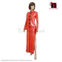 Sexy Red Latex Cheongsam Rubber China Doll suits Dress Gummi Ao Dai Gown Mandarin Oriental Split Playsuit Bodycon plus QZ 024