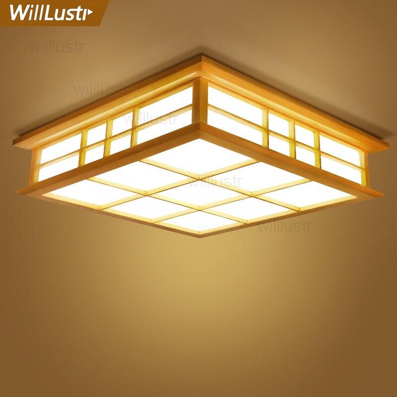 Willlustr светодиодный потолочный светильник из дерева, японский Деревянный светильник для отеля, дома, столовой, спальни, ресторана, акриловая панель осветительная потолочная