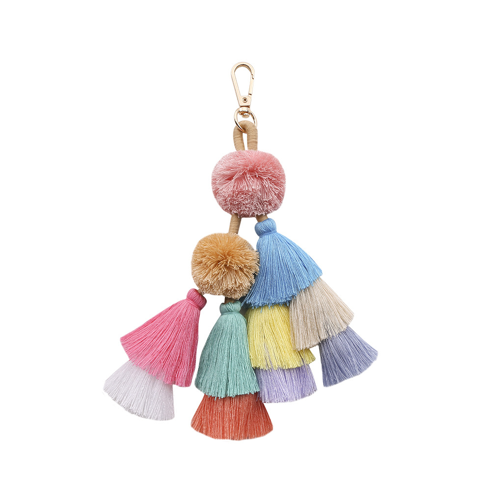 1pc Bohemian Handmade Bag Pendant Women Accessories Charm Pompom Keychain Multicolor With Tassels Gift For Summer Wholesale