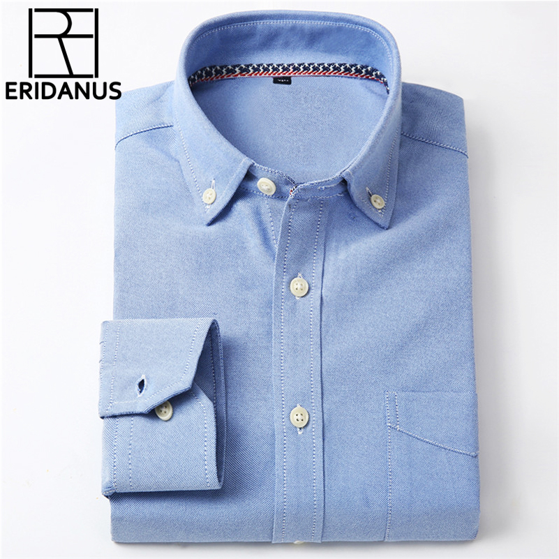 Oxford herrtröja 2016 NewBrand Kläder Mode Business Formell Slim Fit Andningsbar Social Solid Design Casual Herrtröjor X024