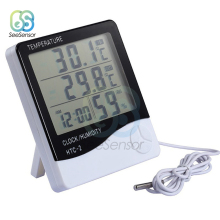 HTC-2 Digital LCD Thermometer Hygrometer Electronic Temperature Humidity Meter Weather Station Indoor Outdoor Clock купить недорого в Москве