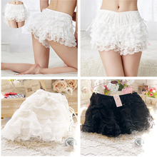 81a21ee17959b Women s Sexy Lolita Elastic Waist Lace Shorts Ladies Casual Bow Safety  Shorts Bottoming Culottes Basic Panties