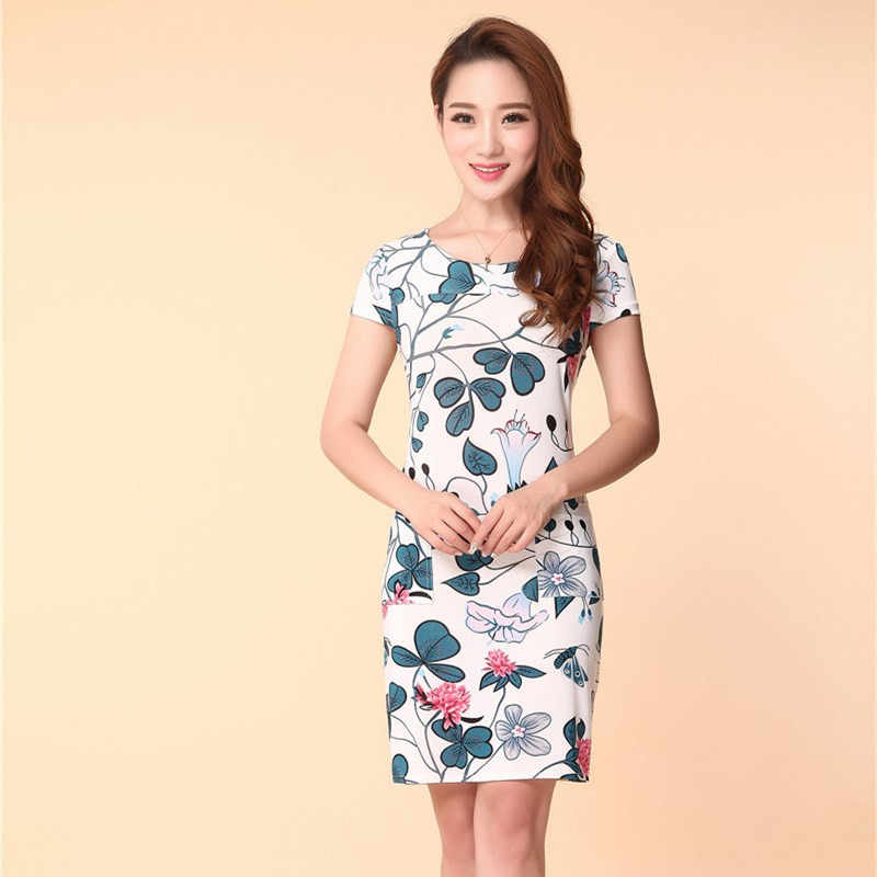 9c8396cbdceae Fashion 2019 Women's Dress Round neck Milk Silk Print Floral summer Dress  Casual Plus Size Vestido Feminino Loose Dresses Female