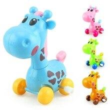 Купить с кэшбэком Wind Up Toys Giraffe Cartoon Animal Back Clockwork Classic Cute Baby Toys Infant Running Car Crawling Kids fun Jumping pull Gift