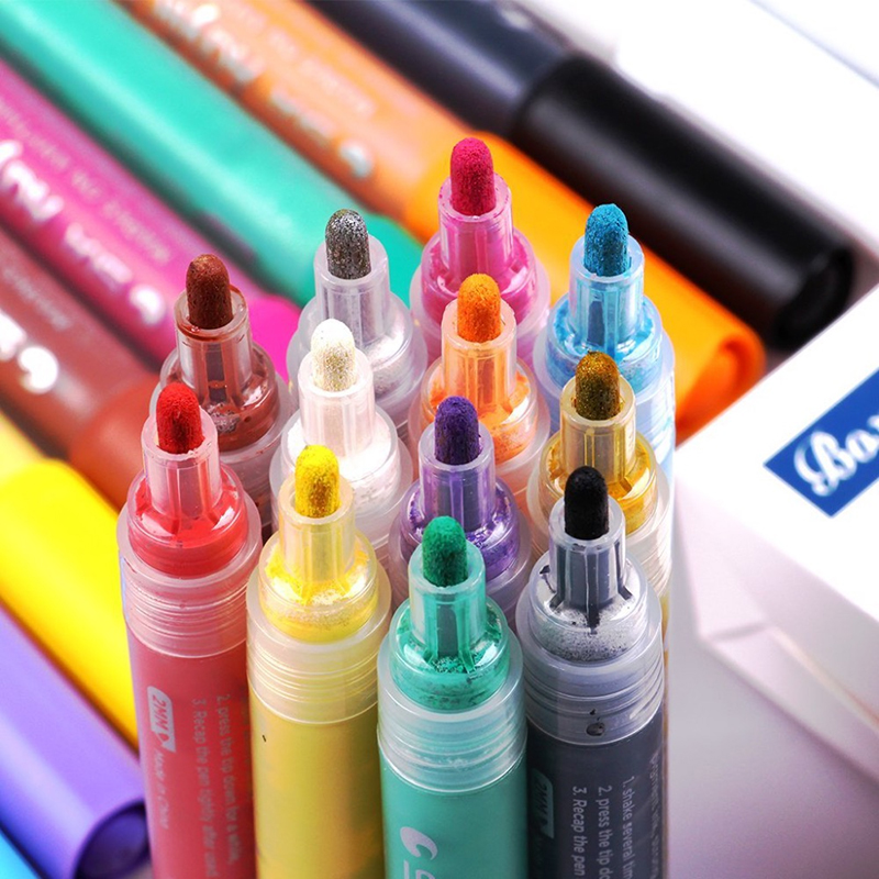 12 24 Colors DIY Acrylic Marker Painter Pen Highlighter Waterproof Permanent Paint Pen Works on Most Surfaces Art Design School touchnew 60 colors artist dual head sketch markers for manga marker school drawing marker pen design supplies 5type