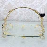 Alloy glass fruit plate European style candy dish hotel KTV bar new home Nordic supplies