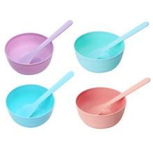 DIY Plastic Film Bowl with Mask Spoon Stick Set Random Color