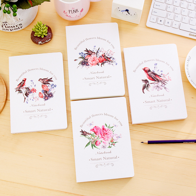 Korean Stationery A5 Notebook Birds Flower Doodle Hardcover 80 Sheets Sketchbook Memopad Notepad Diary Office School Supplies свитшот print bar flower birds