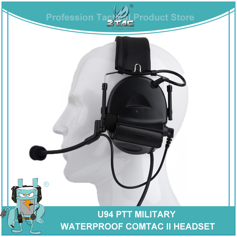 Z-Tactical airsoft  Comtac 2/II Aviation Headset Fifth Generation Chips Silicone Sponge Earmuffs with U 94 PTT For Kenwod Z044