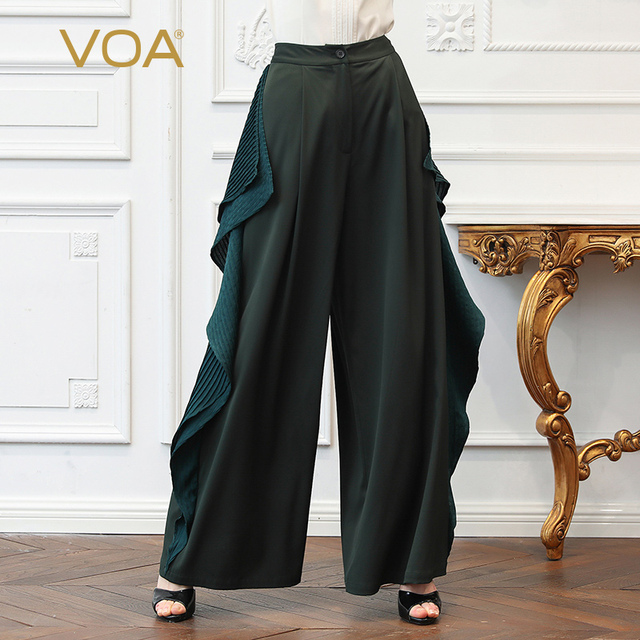 09094c98910 VOA Heavy Silk Plus Size 5XL Loose Wide Leg Pants Women Long Trousers  Casual Ruffles Dark Green Irregular Mid Waist Spring K367