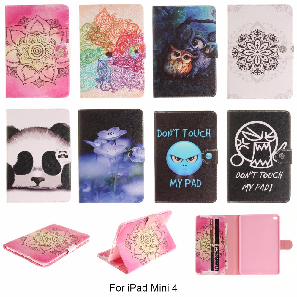 For iPad mini4 7.9'' Case Fashion Flower Don't touch my pad Style PU Leather Flip Tablet Back Cover For Apple iPad mini 4 foldable pu leather pad cover with flower girl driving style inlaid diamond support stand for ipad mini 3