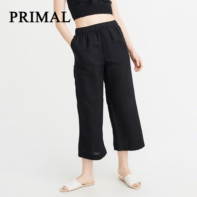 Solid Cotton Linen Wide Leg   Pants   For Women High Waist Chic Streetwear Casual   Pants     Capris   Female Autumn Beach Elastic Trousers