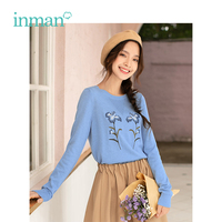 INMAN 2019 Spring New Arrival Female Retro Literary Embroidery Fit Long Sleeve Women Pullover Knitwear Sweater