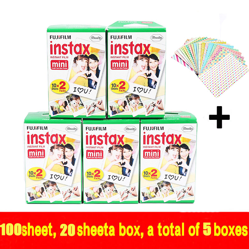 Original 100 sheets High quality Fujifilm instax mini 8 film for 7S 25 8 50s 90 polaroid instant camera mini film white edage