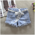 2016 summer new popular wild jeans Female denim shorts lace belt hot fashion drill hole denim shorts women S2169
