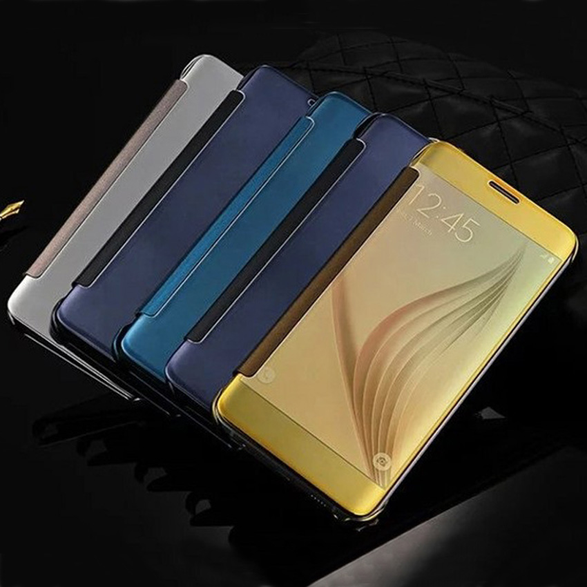 Flip Cover Mirror Phone <font><b>Case</b></font> for <font><b>Samsung</b></font> Galaxy S6 S 6 <font><b>SM</b></font> G920 <font><b>G920F</b></font> G920FD G920A 5.1'' Transparent Clear View Protective <font><b>Case</b></font> image