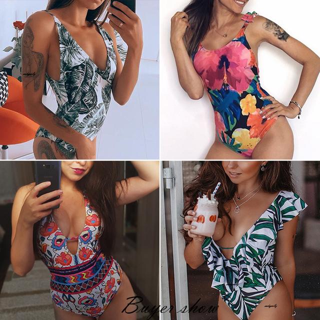 Ashgaily 2018 New One Piece Swimsuit Sexy Cartoon Printed Swimwear Women Bathing Suit Beach Backless Monokini Swimsuit Female