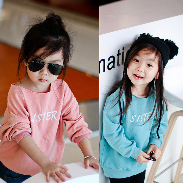 Children loop pile t-shirt baby fashion pullovers brother sister Letters embroidery kids sweatshirts children casual clothes