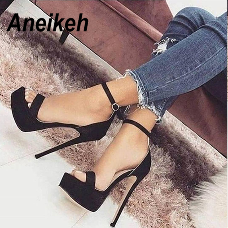 Aneikeh 2020 NEW 14.5CM Platform High Heels Sandals Summer Sexy Ankle Strap Open Toe Gladiator Party Dress Women Shoes Size 42
