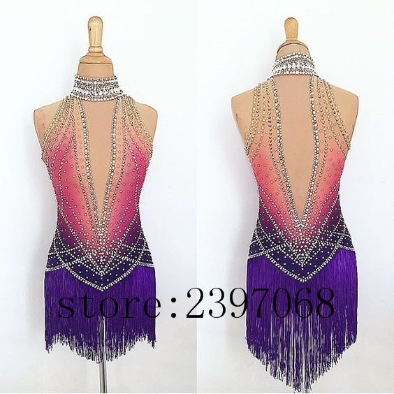 Ice Skating Dresses Purple Women Competition Ice Skating Clothing Girls Custom Ice Skating Dresses 2017 New Free Shipping B422