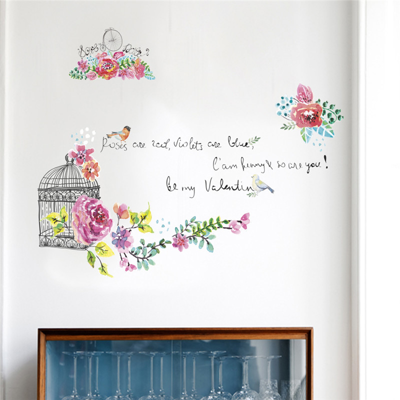 Colorful Flower Birdcage Home decoration Lovely Floral Butterfly Monster Decals Wall Sticker Decor