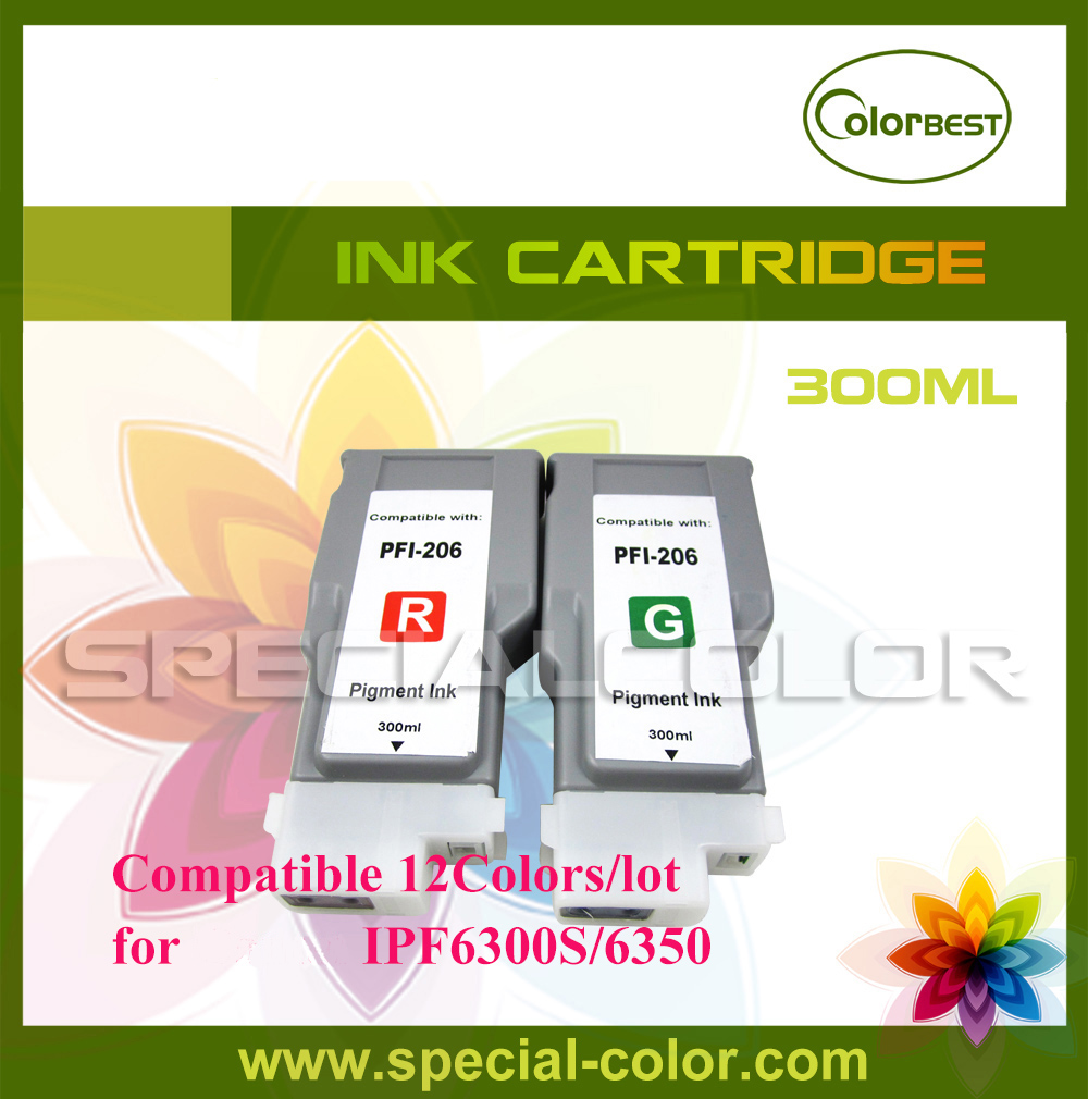 12Colors/Set CMYK R G B MK PC PM GY PGY 300ml Full Ink Cartridge Pigment Ink with Chip for IPF6300S/6350 4 colors set cmyk roland dx4 solvent printer full ink cartridge with chip
