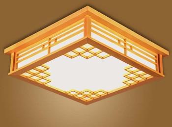 Japanese Ceiling Lights Square 45-55cm Bedroom LED Lamps Lights Sheepskin Study Wood Ceiling Lamp Home Decorative Design Lantern