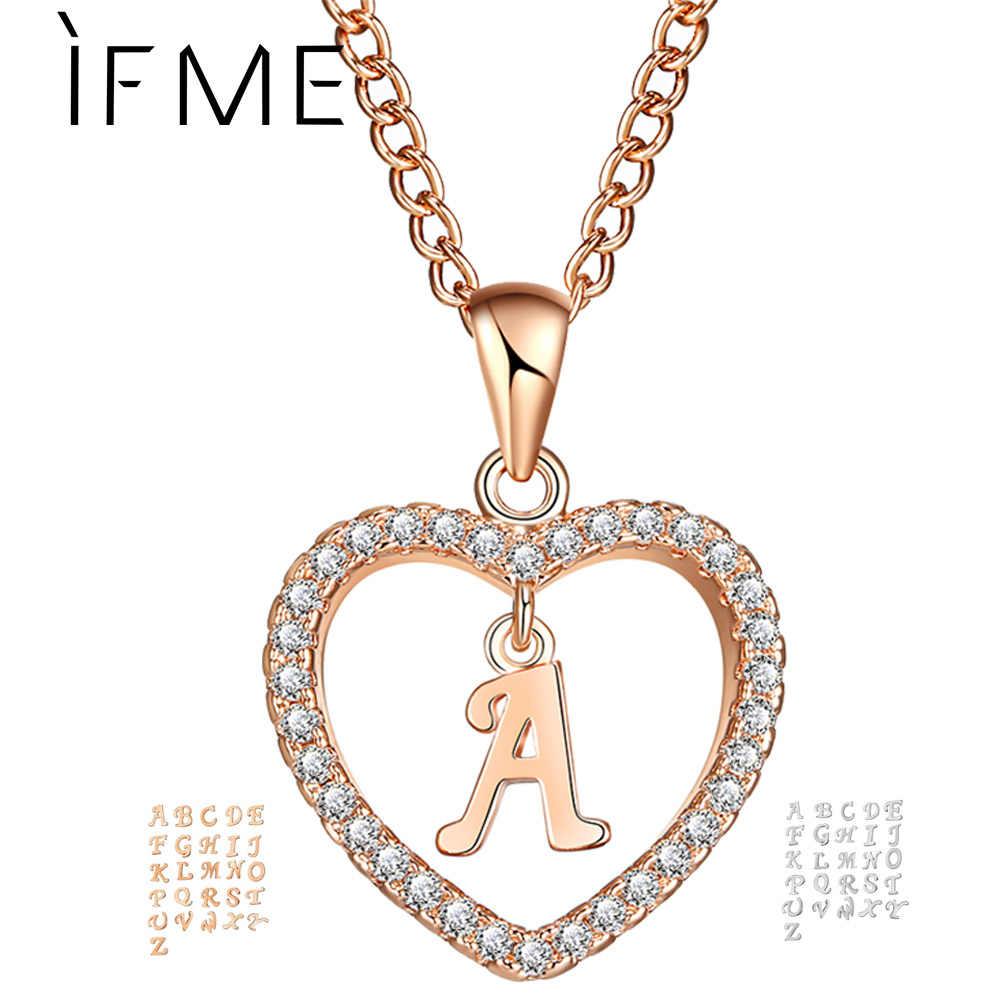 IF ME رومانسية الذهب اللون زركون الحب القلب كريستال قلادة رسالة اسم قلادة Charms النساء 26 رسائل المختنق مجوهرات