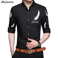 Malianna 2017 Men S Long Sleeve Turn Down Collar Feather Printed Shirt Open Stitch Silm Fit