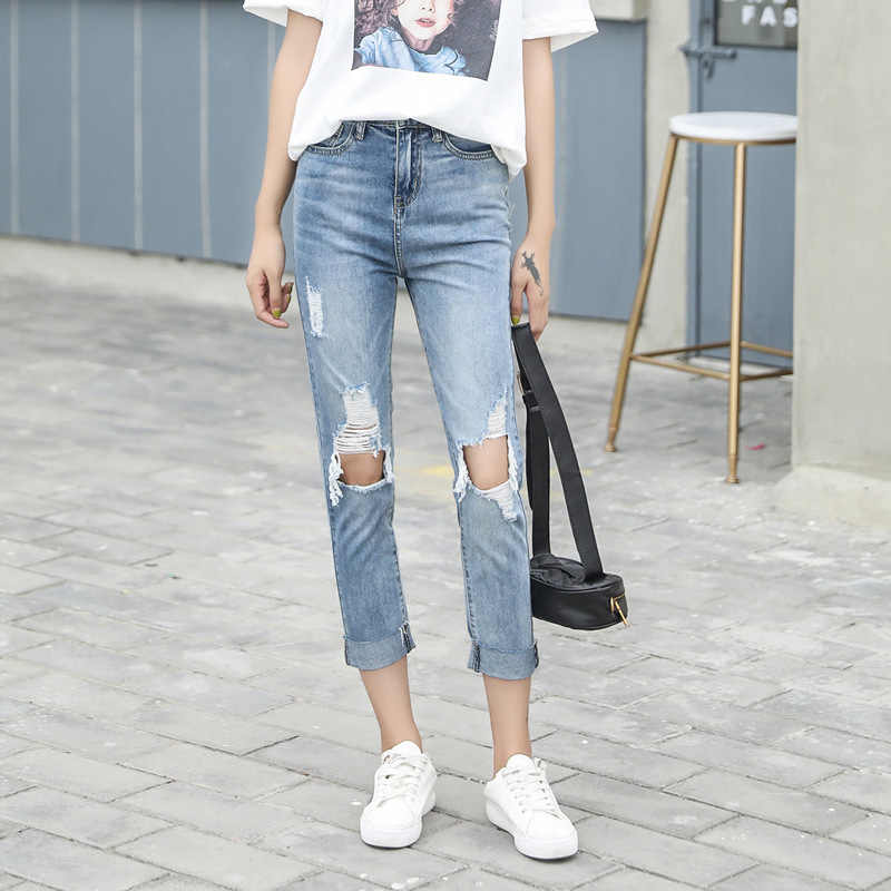 Модные женские рваные джинсы Idopy облегающие до щиколотки с большими дырками для