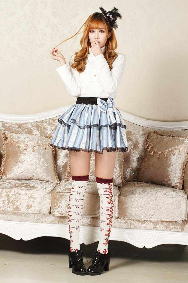 09a74c63abb Punk Lolita Mini Skirts Striped Cross Printed Micro Skirt Female Sexy Skirts  Sweet Women Girls Japan