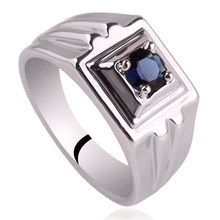 Rhodium Plated Men Genuine Sterling Silver Ring with 5 0mm Solitary Stone Party Wear Jewelry Size