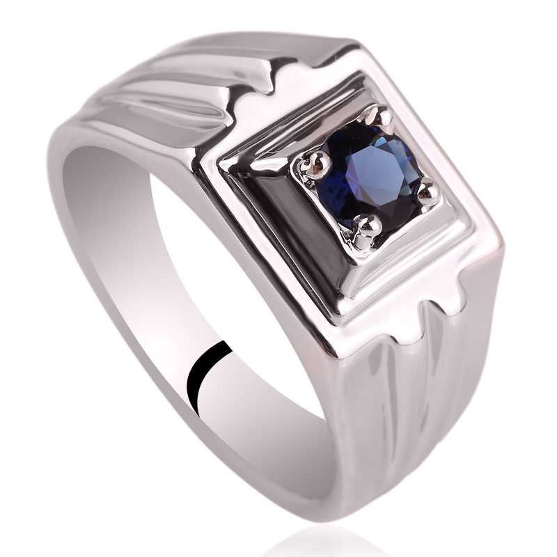 Rhodium Plated Men Genuine Sterling Silver font b Ring b font with 5 0mm Solitary Stone