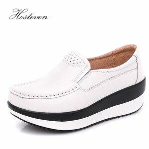 Image 2 - Hosteven נשים נעלי בלט נעל פרה זמש עור שטוח פלטפורמת אישה נעלי נשי נשים של נעלי מוקסינים נעל