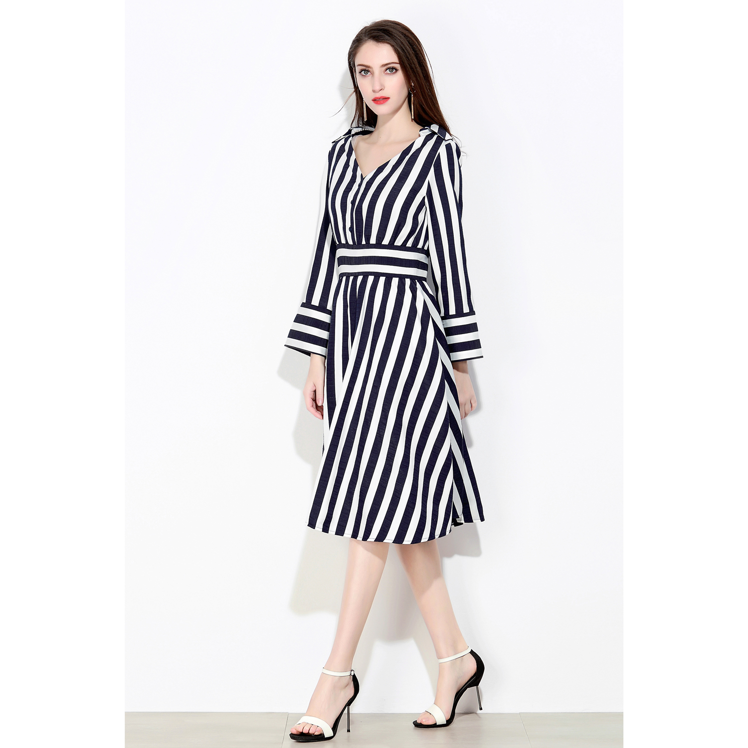 da90996a9e1 Marina Kaneva New Spring Summer Women Dress Lady Long Sleeve Stripe Bodycon  Casual Vintage Party Dresses V Neck Plus Size Vest-in Dresses from Women s  ...