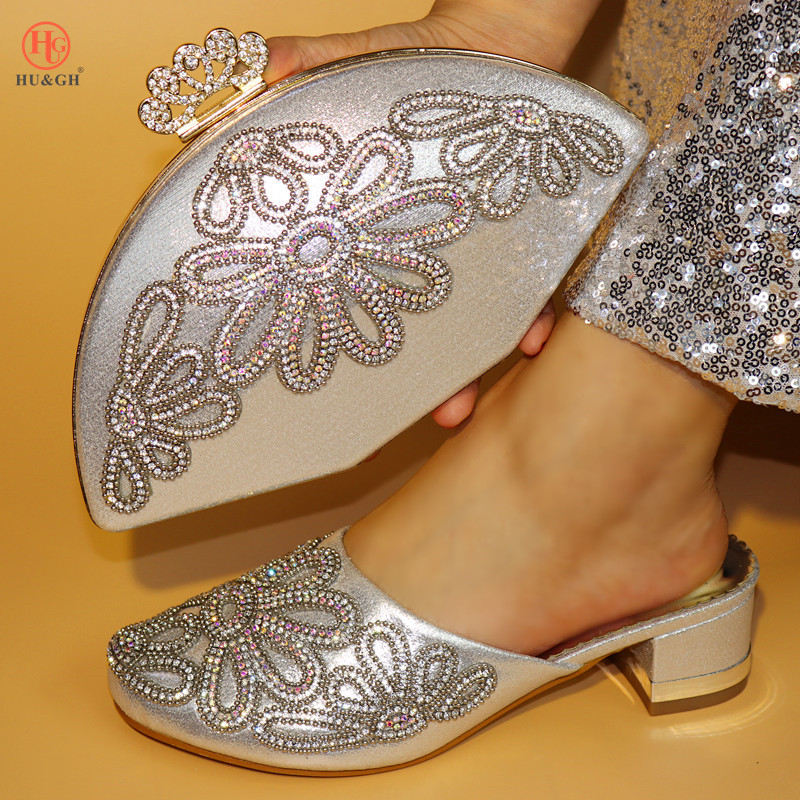 2018 New Sliver Color Italian Shoes with Matching Bags Shoes and Bag Set African Sets 2018 Rhinestone Wedding Shoes and Bag Sets hot artist shoes and bag set african sets italian shoes with matching bags high quality women shoes and bag to match set mm1055