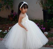Девушка Цветок Платья Балетной Пачки ребенка 2016 новых детей платье девушки Белые цветы плечо платье на заказ ручной ТУТУ платье