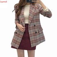 2018 New Autumn And Winter Plaid Korean Women's Jacket Retro Slim Women's Blazer Long Sleeve Blaser Feminino Plus Size Coat