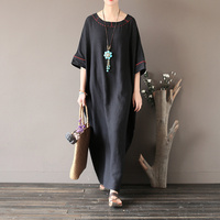 2017 Summer Women Plus Size Dress Round Neck Casual Loose Short Sleeve Vestidos Black Vintage Embroidery