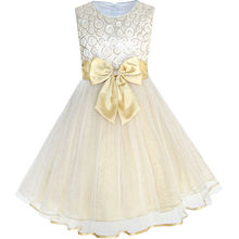 Flower Girls Bow Tie Champagne Wedding/Pageant Dress
