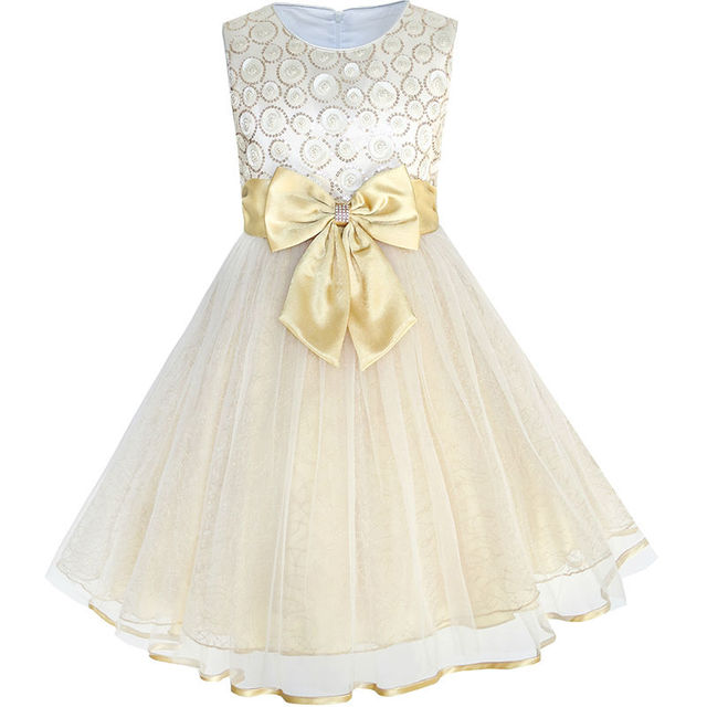 4f13865a180b Sunny Fashion Flower Girls Dress Bow Tie Champagne Wedding Pageant 2018  Summer Princess Party Dresses Children ...
