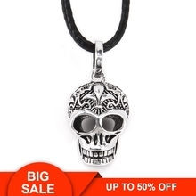 Thomas Lily & Cross Pattern Skull Pendant Faux Leather Necklace, European Rebel Heart Jewelry for Women and Men TS N109 pendant lily skull skeleton 925 sterling silver to men punk heart jewelry fashion rebel thomas key chains pendant fit necklace