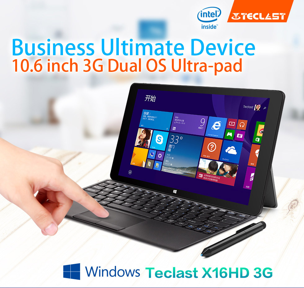 Newest10.6 Pouces Teclast X16HD 3G Double Système Z3735f/Z3736f Tablette PC Android4.4 + Windows8.1 1920x1080 2 GO DDR3L 32/64 GB