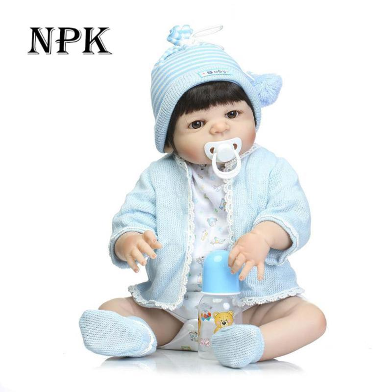 23 inch Silicone Reborn Babies Dolls Brinquedos Dolls For Girls Vinyl Realistic Doll Reborn Kids Christmas Gifts Toys 57cm npk girl toys gift 22 inch silicone reborn babies dolls brinquedos girls vinyl realistic newborn doll for girls play house toys
