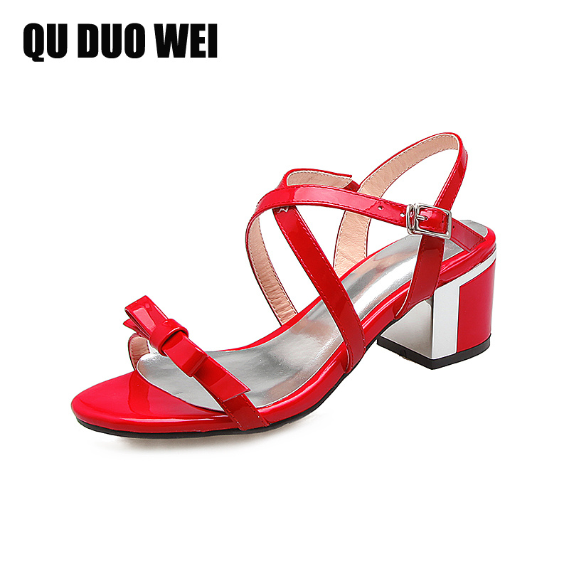 2018 Summer Sandals With Sweet Bowtie Genuine Leather Square High Heels Gladiator Women Sandals Fashion Cross-Tied Flip Flops купить